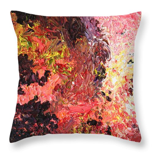 Fusionart Throw Pillow featuring the painting Ganesh In The Garden by Ralph White
