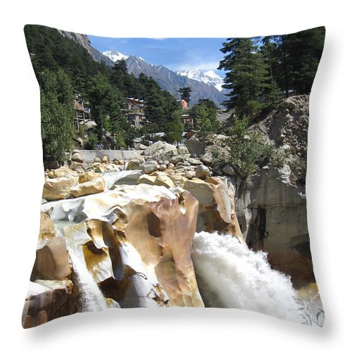 Ganges Throw Pillow featuring the photograph Ganges In Gangotri Close To Its Source by Oliver Riedel