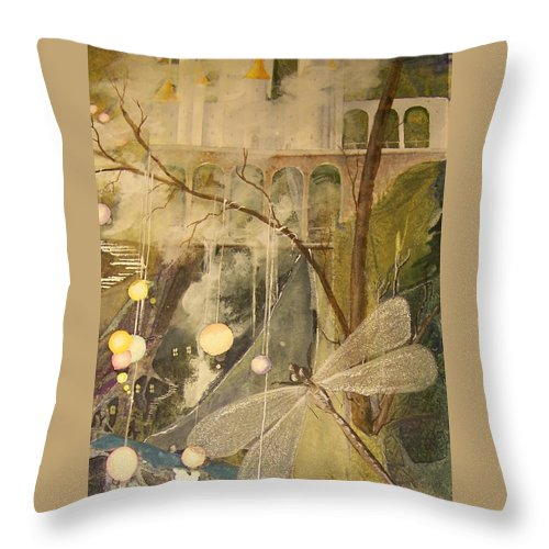 Castle Throw Pillow featuring the painting Ganth IIi by Jackie Mueller-Jones