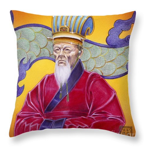 Oriental Throw Pillow featuring the painting Gao Zhang by Melissa A Benson