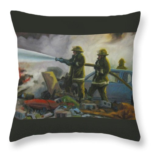 Firefighters Throw Pillow featuring the painting Garage Fire by John Malone