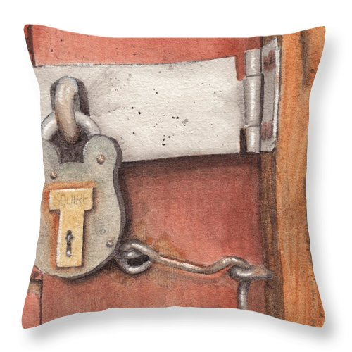 Lock Throw Pillow featuring the painting Garage Lock Number Four by Ken Powers