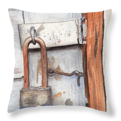 Lock Throw Pillow featuring the painting Garage Lock Number One by Ken Powers