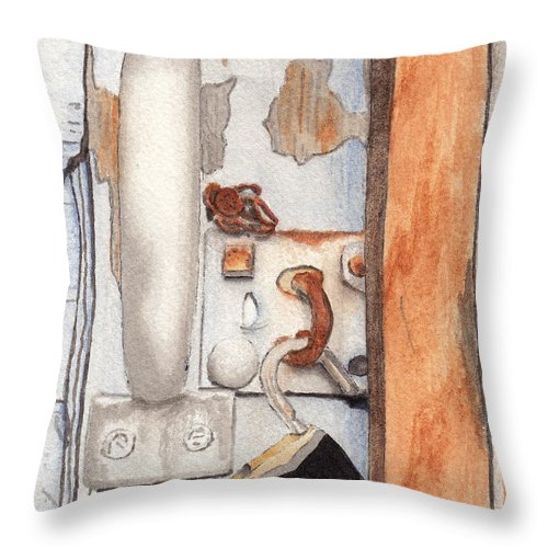 Lock Throw Pillow featuring the painting Garage Lock Number Three by Ken Powers