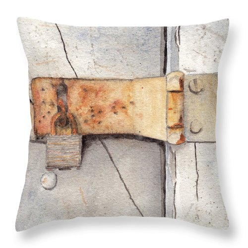 Lock Throw Pillow featuring the painting Garage Lock Number Two by Ken Powers