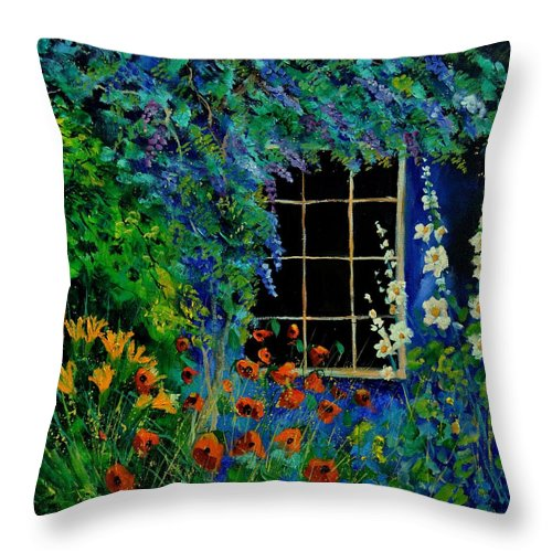 Flowers Throw Pillow featuring the painting Garden 88 by Pol Ledent