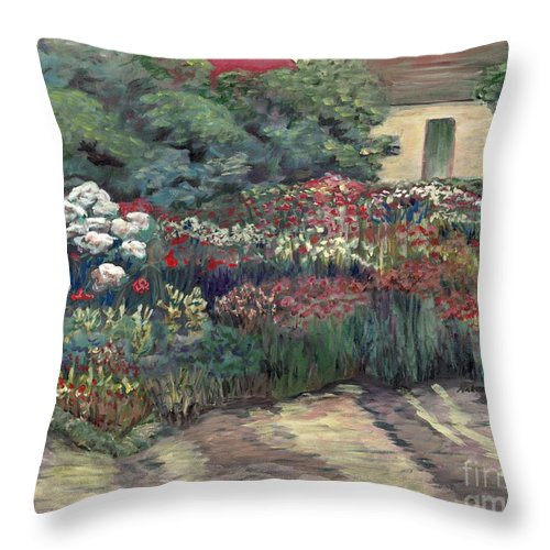 Breck Throw Pillow featuring the painting Garden At Giverny by Nadine Rippelmeyer