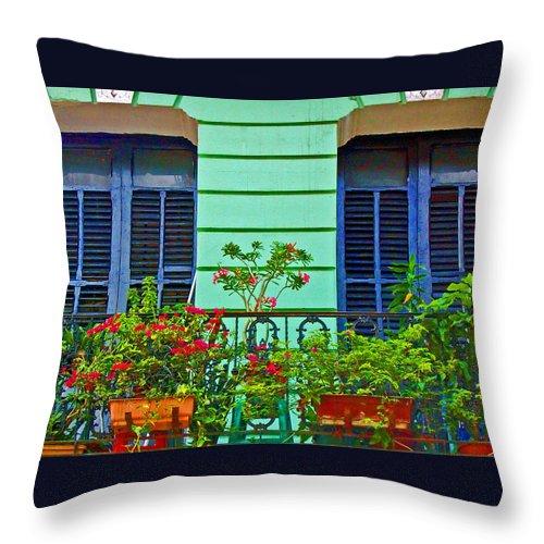 Garden Throw Pillow featuring the photograph Garden Balcony by Debbi Granruth