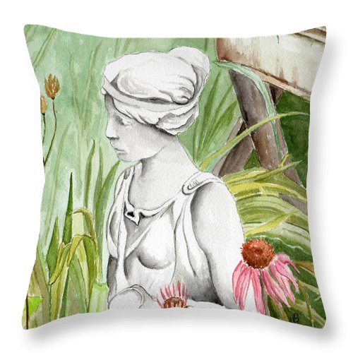 Watercolor Scenery Color Rural Garden Statue Woman Gardening Plants Flower Green Throw Pillow featuring the painting Garden Beauty by Brenda Owen