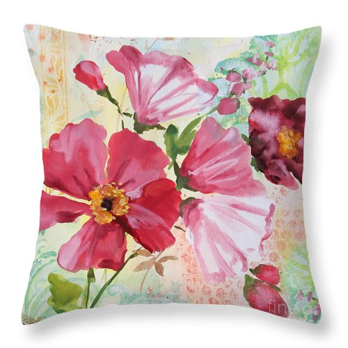 Watercolor Painting Throw Pillow featuring the painting Garden Beauty-jp2954b by Jean Plout