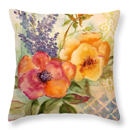 Watercolor Painting Throw Pillow featuring the painting Garden Beauty-jp2955b by Jean Plout