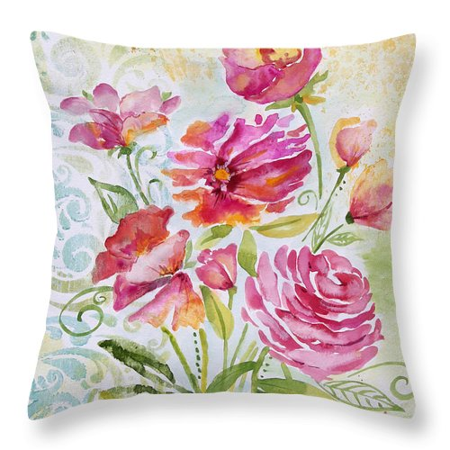 Watercolor Painting Throw Pillow featuring the painting Garden Beauty-jp2957 by Jean Plout