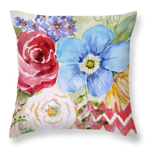 Watercolor Painting Throw Pillow featuring the painting Garden Beauty-jp2958b by Jean Plout