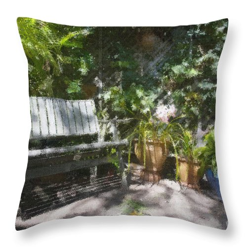 Garden Bench Flowers Impressionism Throw Pillow featuring the photograph Garden Bench by Sheila Smart Fine Art Photography