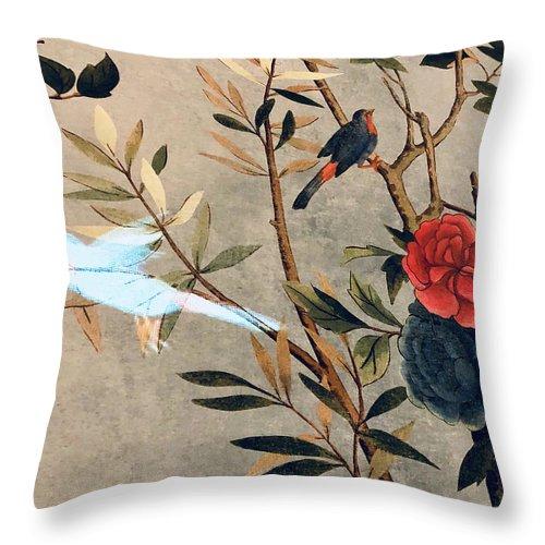 Throw Pillow featuring the photograph Garden Bird by Ceil Diskin