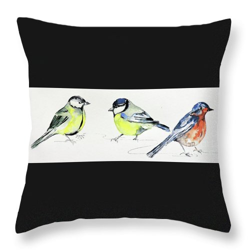 Watercolour Painting Throw Pillow featuring the painting Garden Birds by Sharon Cox