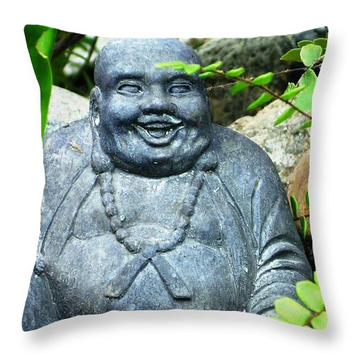 Buddha Throw Pillow featuring the photograph Garden Buddha by Torie Beck