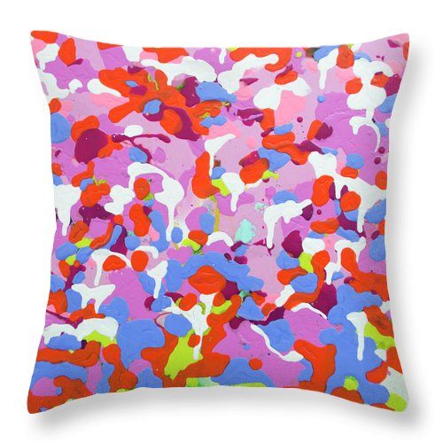 Abstract Throw Pillow featuring the painting Garden Camo by Claire Desjardins
