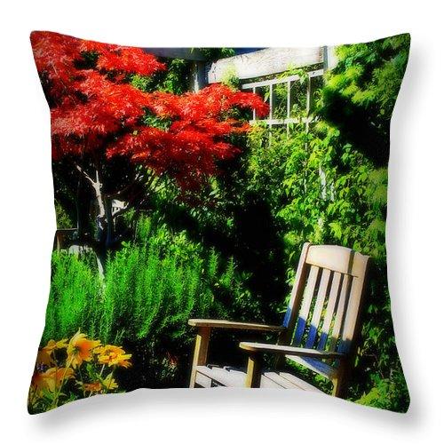 Garden Throw Pillow featuring the photograph Garden Chair by Perry Webster