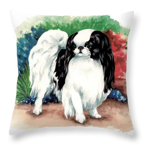 Japanese Chin Throw Pillow featuring the painting Garden Chin by Kathleen Sepulveda