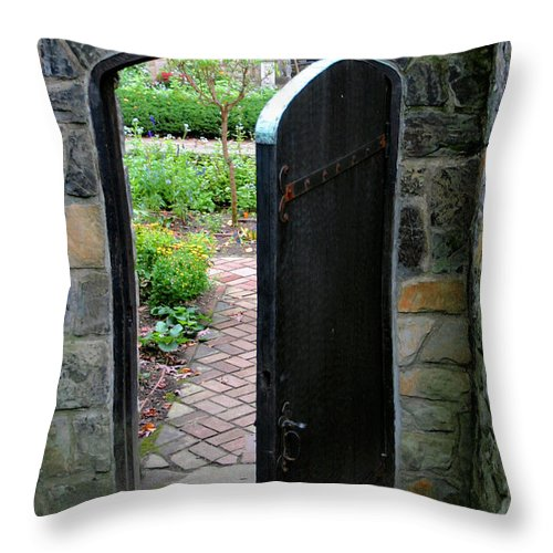 Door Throw Pillow featuring the photograph Garden Door by Kristin Elmquist