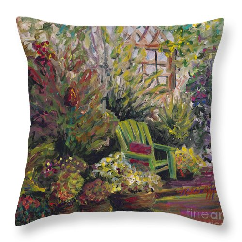 Green Throw Pillow featuring the painting Garden Escape by Nadine Rippelmeyer