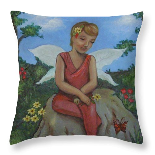 Angelic Throw Pillow featuring the painting Garden Fairy by Kaye Loraine