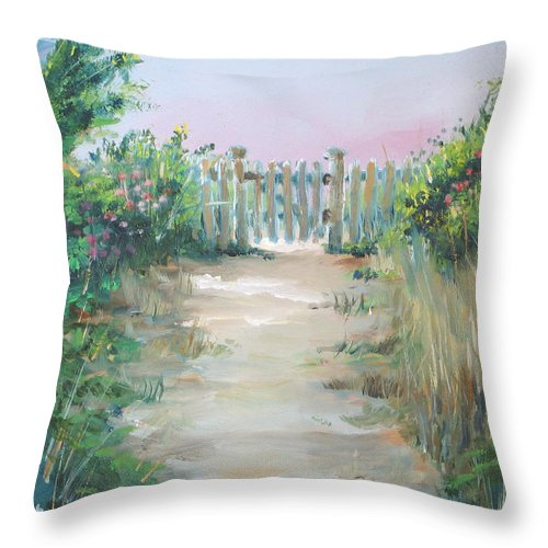 Garden Throw Pillow featuring the painting Garden Fence by Paul Walsh