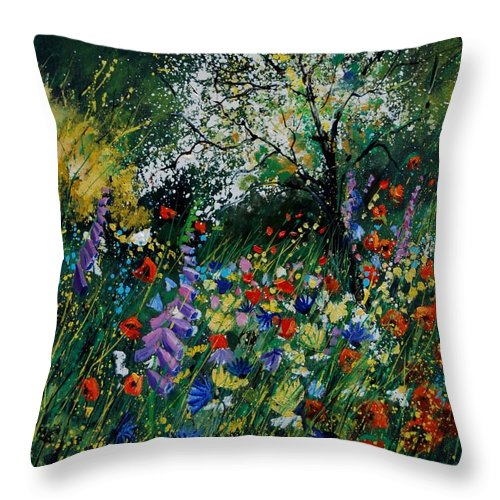 Flowers Throw Pillow featuring the painting Garden Flowers by Pol Ledent