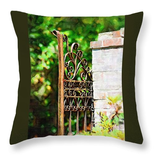 Gardens Throw Pillow featuring the photograph Garden Gate by Donna Bentley