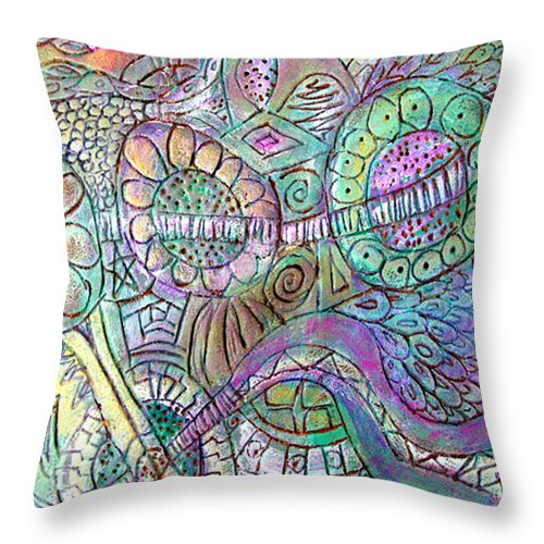 Abstract Throw Pillow featuring the painting Garden In The Sky by Wayne Potrafka