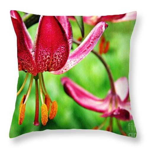 Lily Throw Pillow featuring the photograph Garden Jewels 1 by Sarah Loft