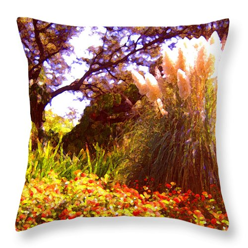 Landscapes Throw Pillow featuring the painting Garden Landscape by Amy Vangsgard
