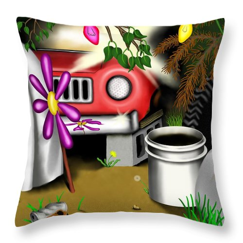 Surrealism Throw Pillow featuring the digital art Garden Landscape I - Into The Trailorpark by Robert Morin
