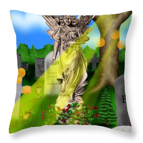 Surrealism Throw Pillow featuring the digital art Garden Landscape IIi A - Where The Dead Sleep by Robert Morin