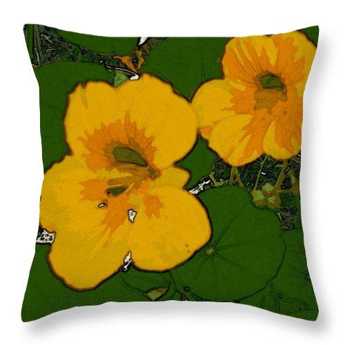 Flowers Throw Pillow featuring the digital art Garden Love by Winsome Gunning