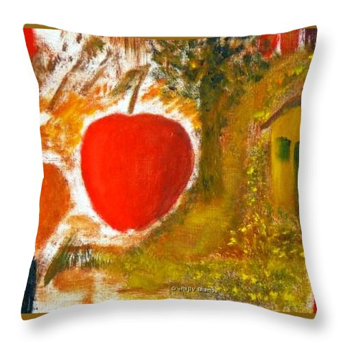 Abstract Apple Adam Ave Throw Pillow featuring the painting Garden Of Eden by R B