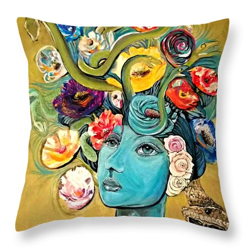 Snake Throw Pillow featuring the painting Garden Of Good And Evil by Jennifer Clegg