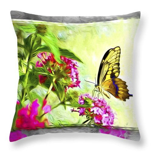 Butterfly Throw Pillow featuring the photograph Garden Of Love by Carolyn Marshall