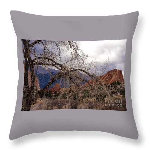 Colorado Springs Throw Pillow featuring the photograph Garden Of The Gods Entrance by Jennifer Mitchell
