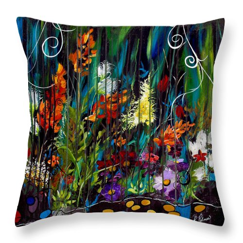 Abstract Throw Pillow featuring the painting Garden Of Wishes by Ruth Palmer