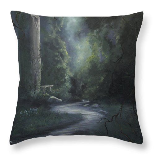 Ancient Throw Pillow featuring the painting Garden Path by Natalie LaRocque