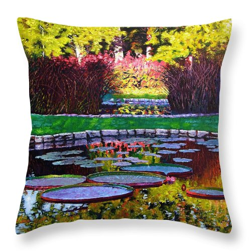 Garden Ponds Throw Pillow featuring the painting Garden Ponds - Tower Grove Park by John Lautermilch