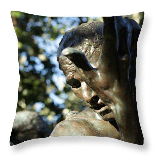 Sculpture Throw Pillow featuring the painting Garden Sculpture by Dean Triolo