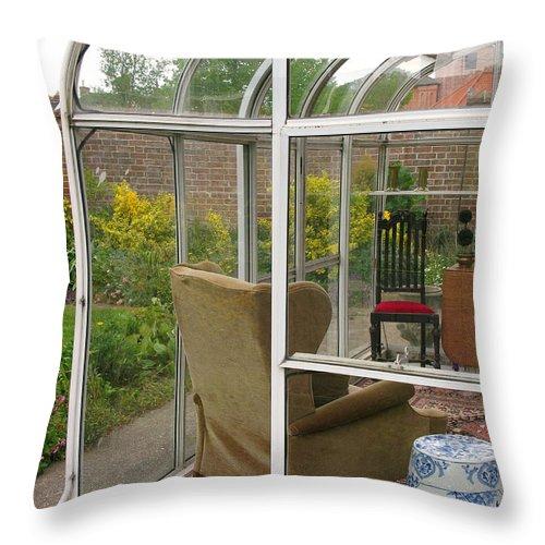Garden Throw Pillow featuring the photograph Garden Sitting Room by Ann Horn
