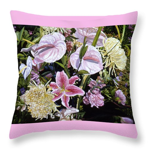 Watercolor Throw Pillow featuring the painting Garden Song by Teri Starkweather