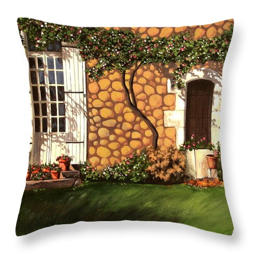 Garden Throw Pillow featuring the painting Garden Wall by Daniel Carvalho