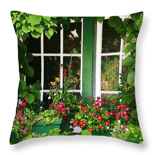 Scenic Throw Pillow featuring the photograph Garden Window by Mark Lemon