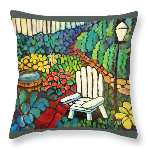Every Good Color Throw Pillow featuring the painting Garden With Lamp By Peggy Johnson by Peggy Johnson