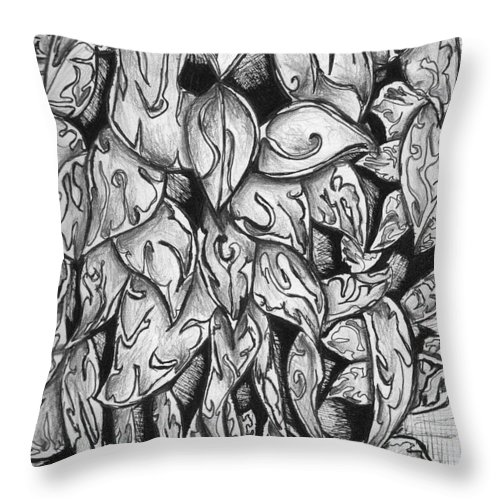 Leaves Throw Pillow featuring the drawing Gardena 1 by Crystal Webb
